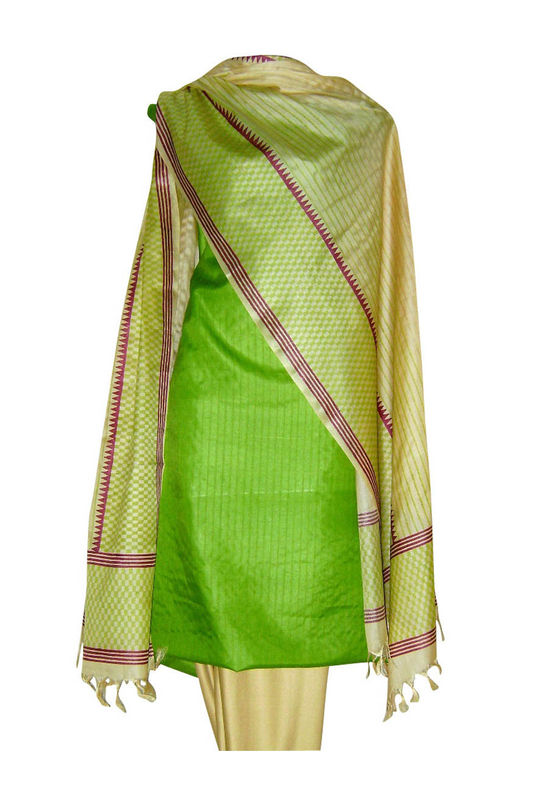 Tussar Silk Suit Block Printed In Green Shade _21
