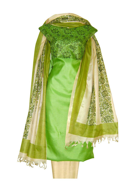 Tussar Silk Suit Block Printed In Green Shade _22