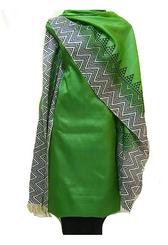 Tussar Silk Suit Block Printed In Green Shade _23