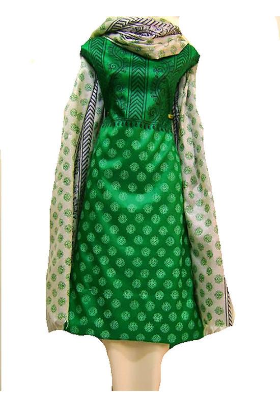 Tussar Silk Suit Block Printed In Green Shade _24