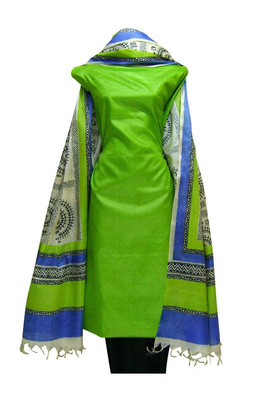 Tussar Silk Suit Block Printed In Green Shade _27