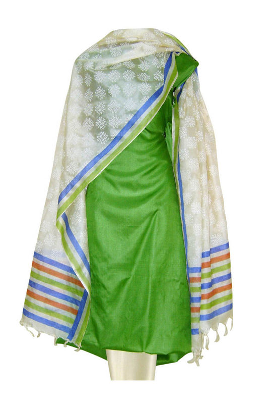 Tussar Silk Suit Block Printed In Green Shade _28