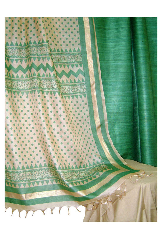 Tussar Silk Suit Block Printed In Green Shade _3