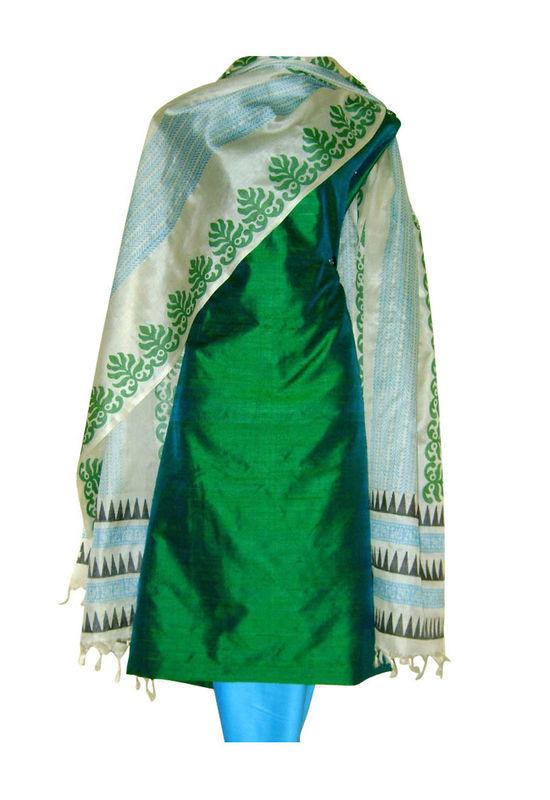 Tussar Silk Suit Block Printed In Green Shade _34