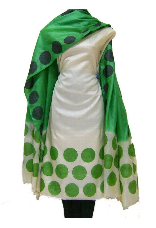 Tussar Silk Suit Block Printed In Green Shade _31