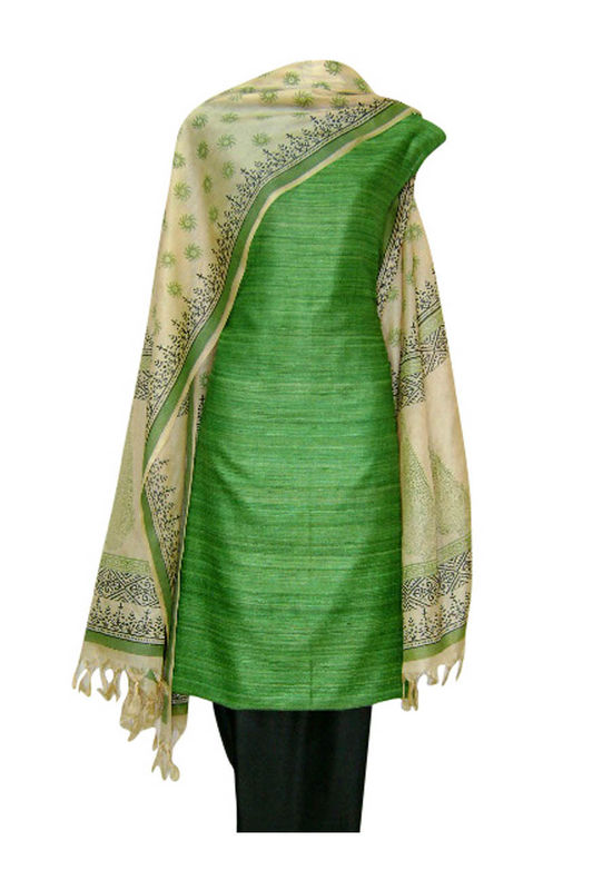 Tussar Silk Suit Block Printed In Green Shade _32