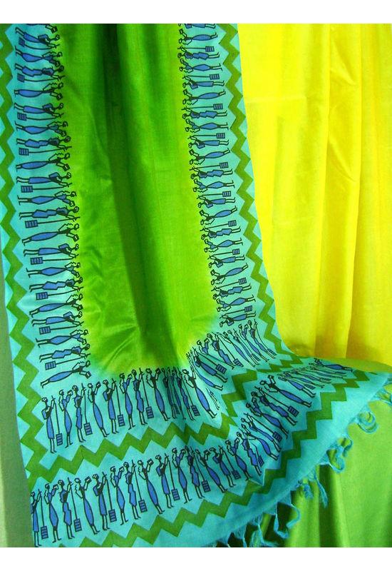 Tussar Silk Suit Block Printed In Green Shade _4