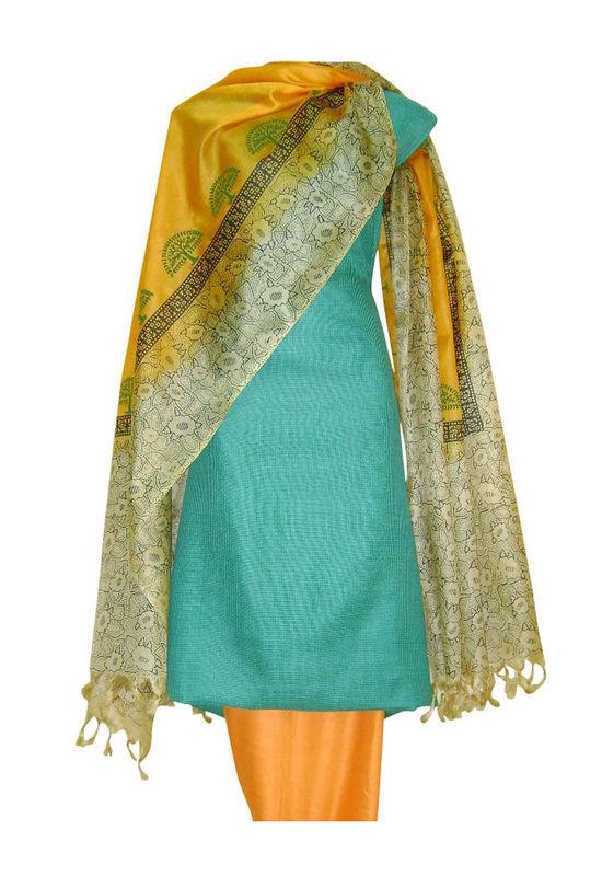 Tussar Silk Suit Block Printed In Green Shade _5