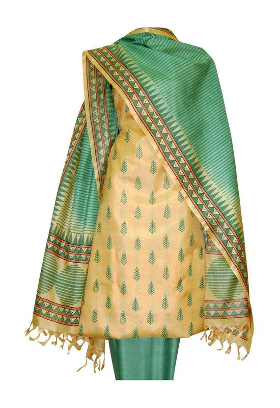 Tussar Silk Suit Block Printed In Green Shade _6