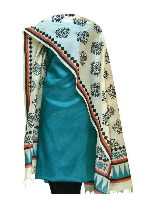 Tussar Silk Suit Block Printed In Green Shade _7