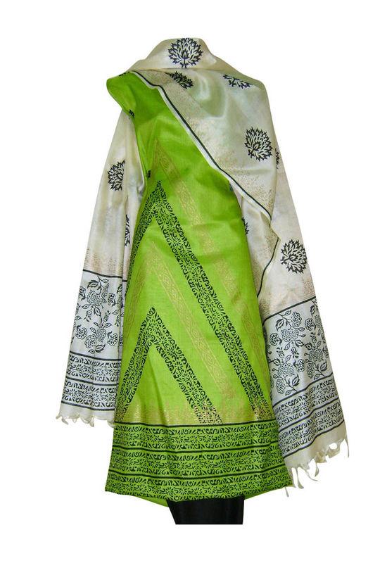 Tussar Silk Suit Block Printed In Green Shade _8