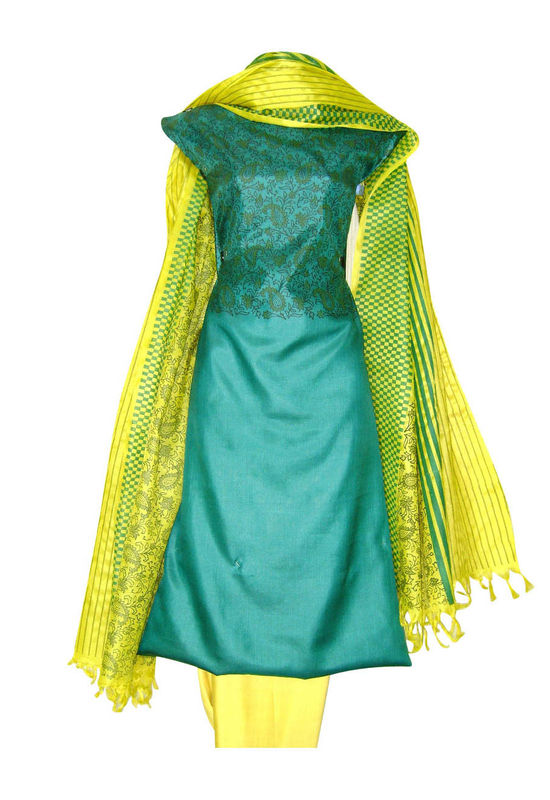 Tussar Silk Suit Block Printed In Green Shade _9
