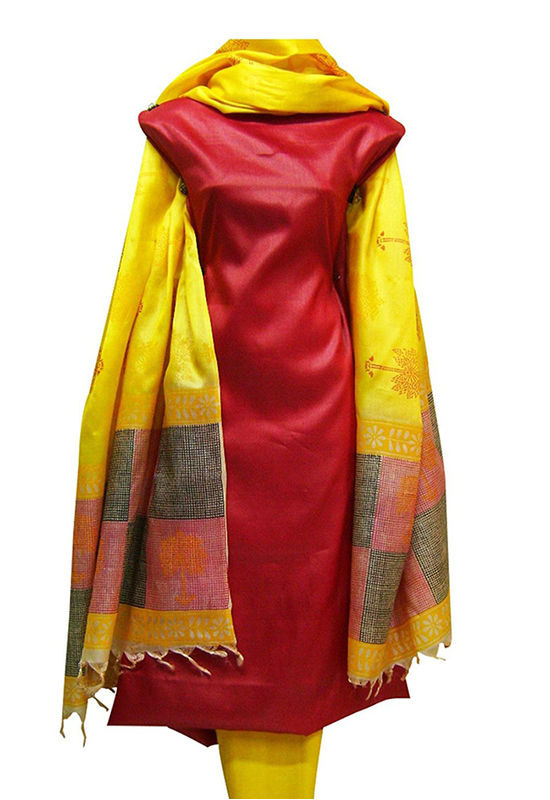 Tussar Silk  Red Suit with Printed Yellow  Dupatta