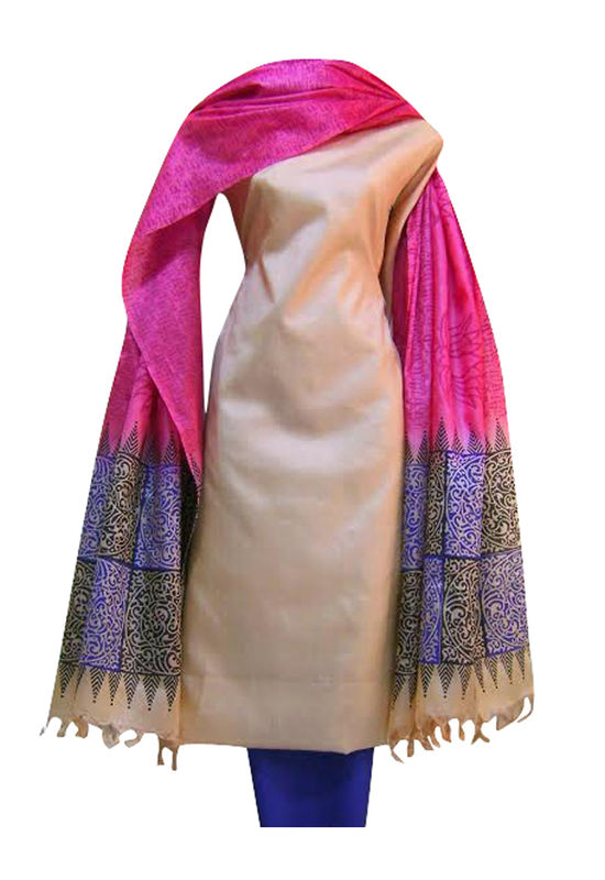 Pure Tussar Silk Suit in Pink Color with Beige