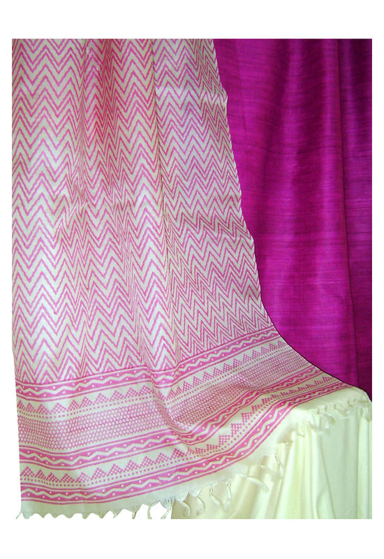Pure Tussar Silk Suit in Magenta Pink with Cream