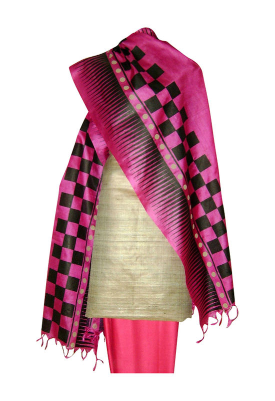 Pure Tussar Silk Suit in Pink Color_16