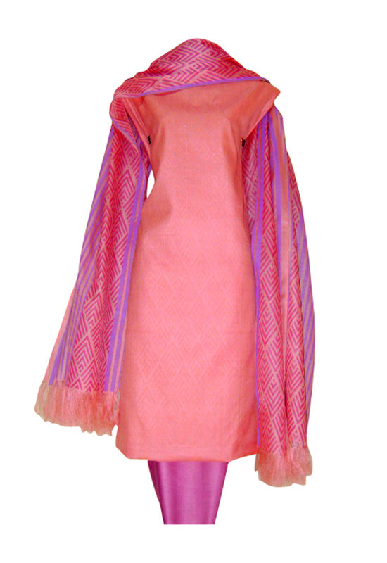 Pure Tussar Silk Suit in Pink Color_2