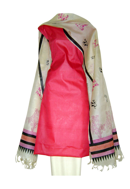 Pure Tussar Silk Suit in Pink Color_22