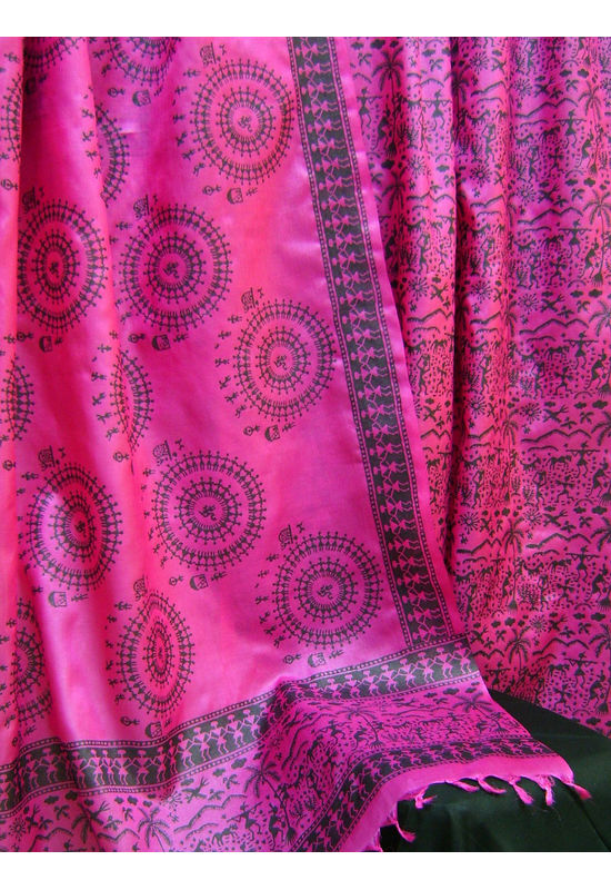 Pure Tussar Silk Suit in Pink Color_24