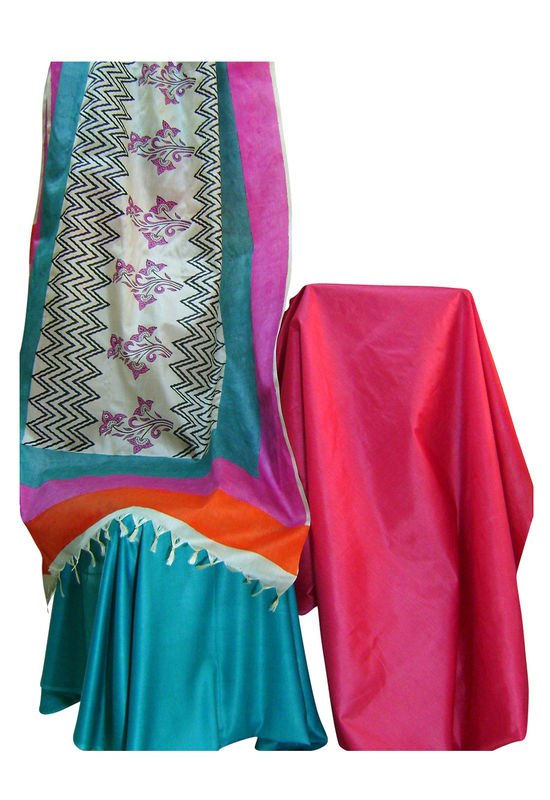 Pure Tussar Silk Suit in Pink Color_25
