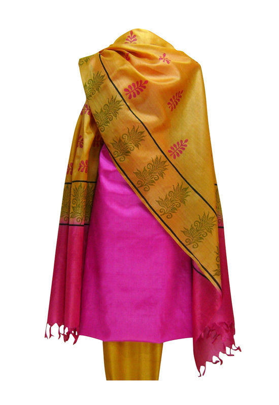 Pure Tussar Silk Suit in Pink Color 26