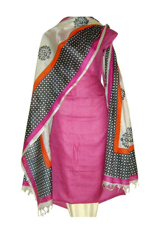 Pure Tussar Silk Suit in Pink Color_28