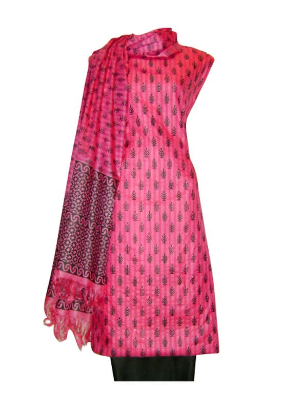 Pure Tussar Silk Suit in Pink Color_3