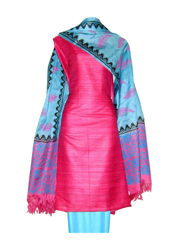 Pure Tussar Silk Suit in Pink Color_30