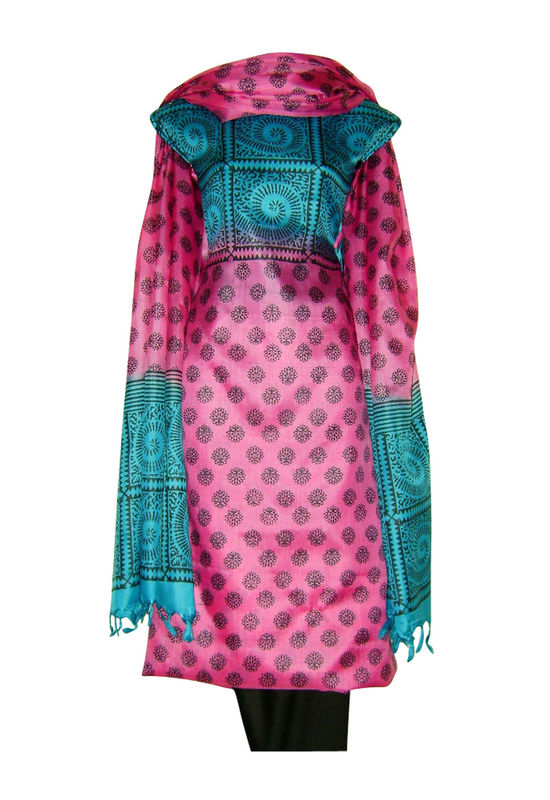 Pure Tussar Silk Suit in Pink Color_32