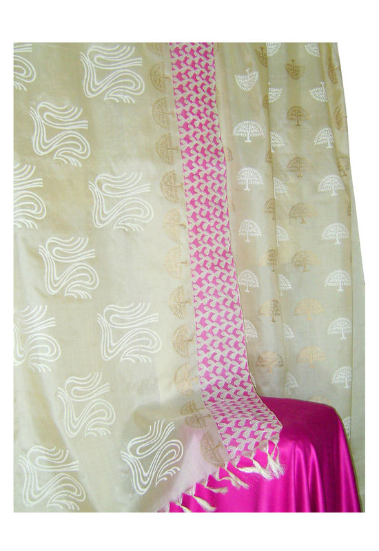 Pure Tussar Silk Suit in Pink Color_36