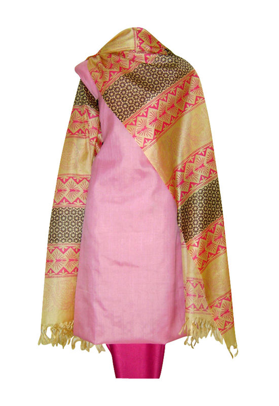 Pure Tussar Silk Suit in Pink Color_39