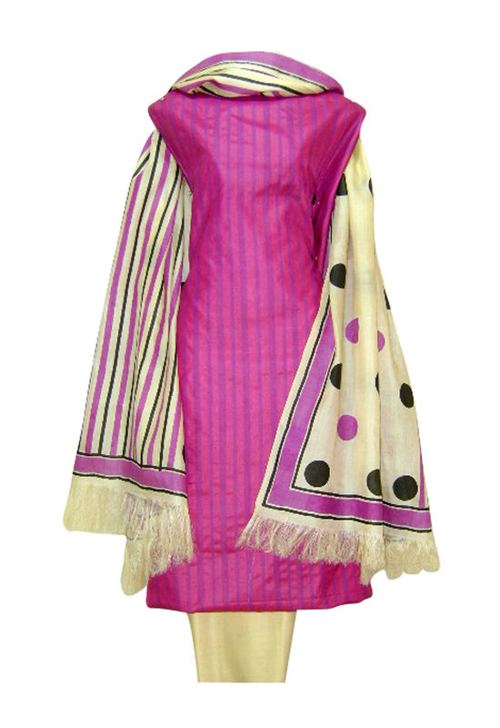 Pure Tussar Silk Suit in Pink Color_4