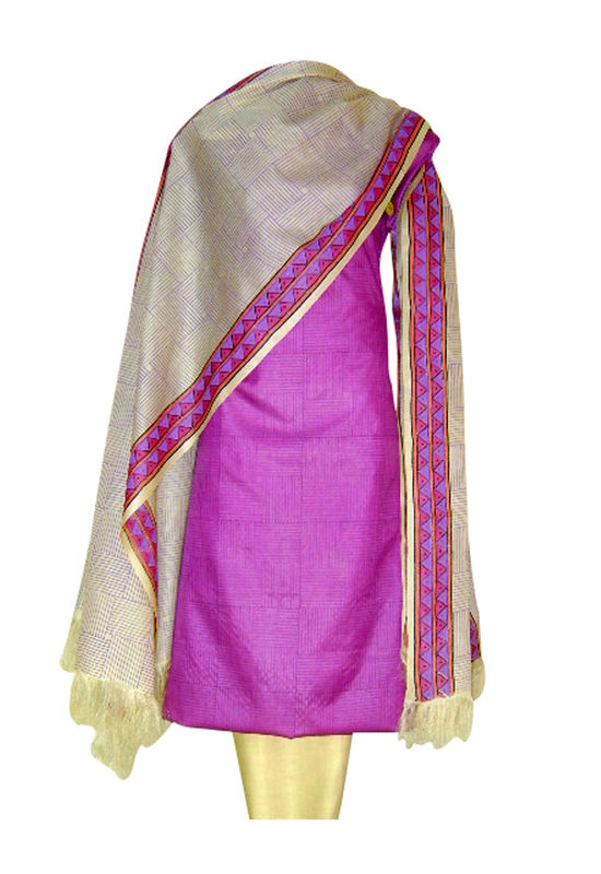 Pure Tussar Silk Suit in Pink Color_40