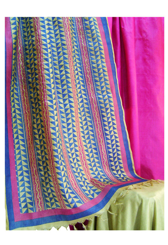 Pure Tussar Silk Suit in Pink Color_5