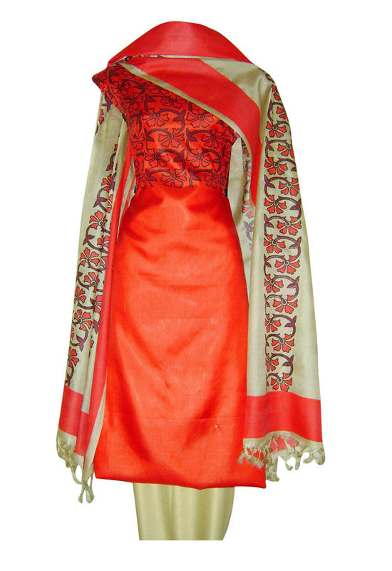 Tussar Silk Suit in Red Shade_12