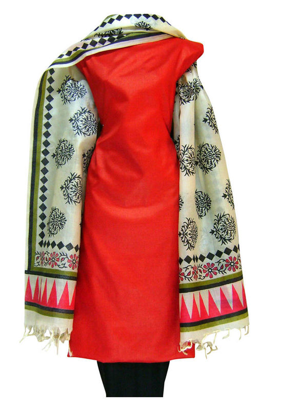 Tussar Silk Suit in Red Shade_17