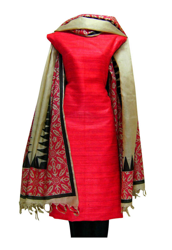 Tussar Silk Suit in Red Shade_18