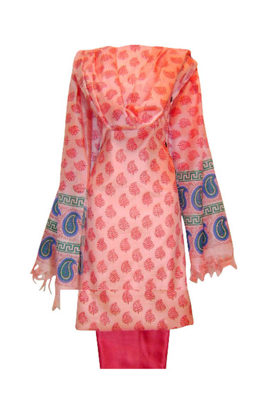 Tussar Silk Suit in Red Shade_2