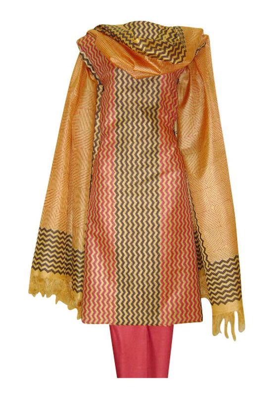 Tussar Silk Suit in Red Shade_3