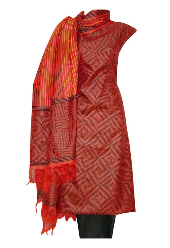 Tussar Silk Suit in Red Shade_5