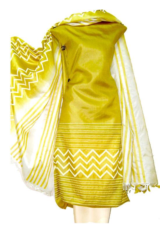 Tussar Silk Salwar Kameez Yellow_11