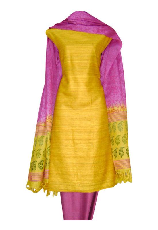 Tussar Silk Salwar Kameez Yellow_12