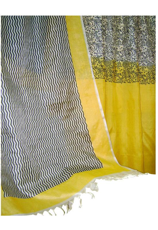Tussar Silk Salwar Kameez Yellow_16