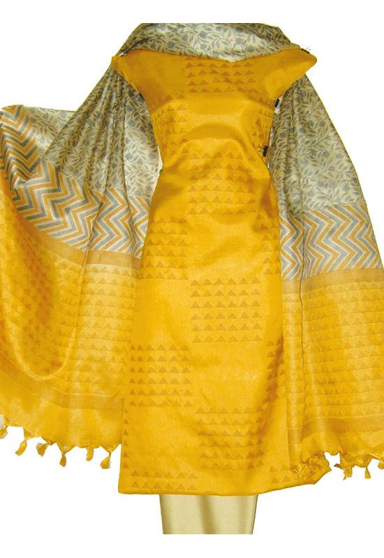 Tussar Silk Salwar Kameez Yellow_17