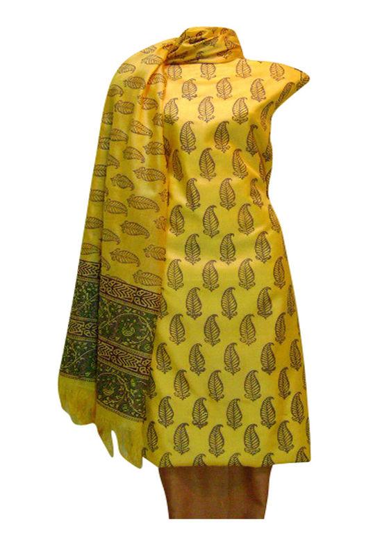 Tussar Silk Salwar Kameez Yellow_20