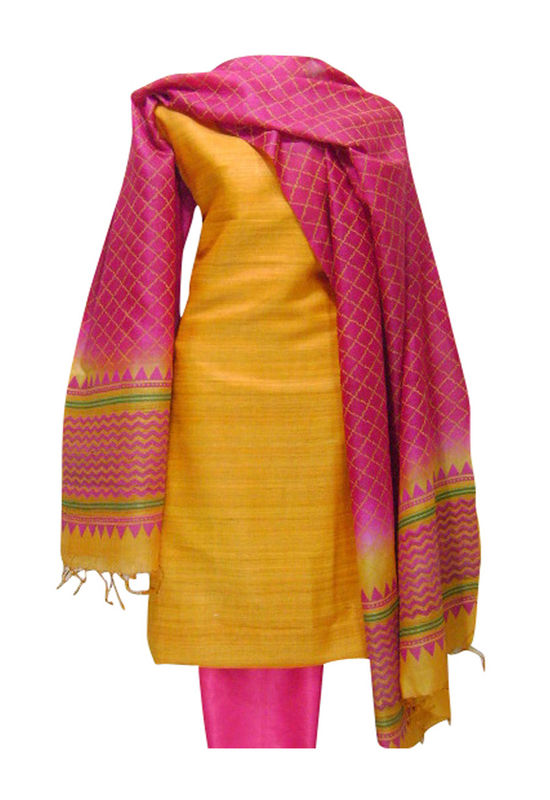Tussar Silk Suit with Yellow Top and Pink Dupatta