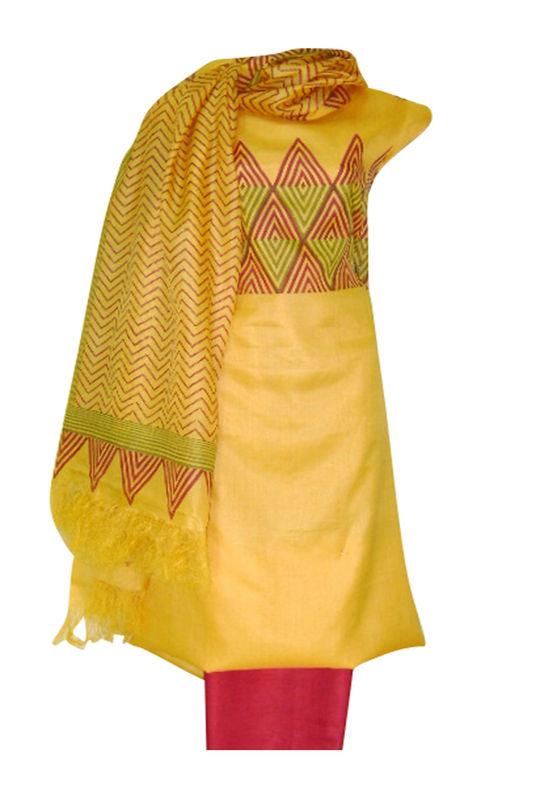 Tussar Silk Salwar Kameez Yellow_6