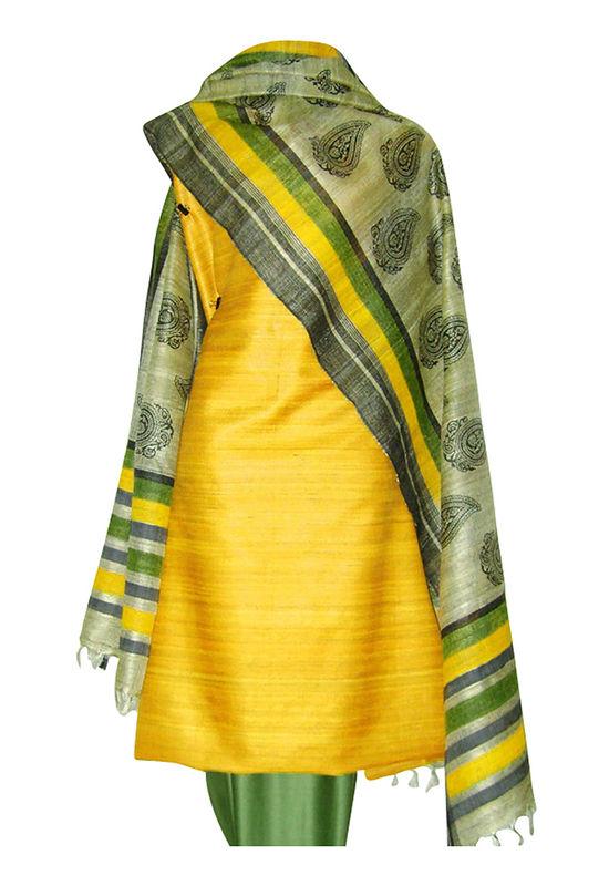 Tussar Silk Salwar Kameez Yellow_7