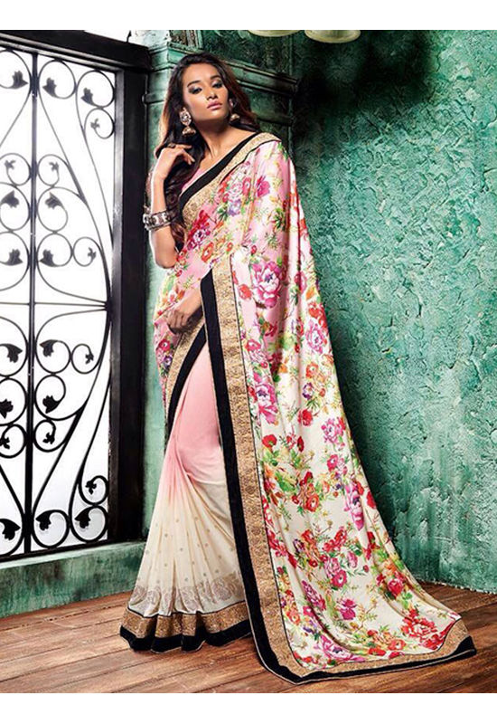 Floral Printed Crepe Saree in Pink and Beige