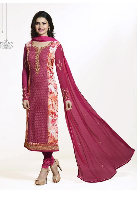 Prachi Desai Shaded Magenta Pink Straight Suit